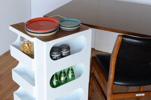 ホームパーティーなどにも対応できるたっぷりの収納力を持つボビーワゴン