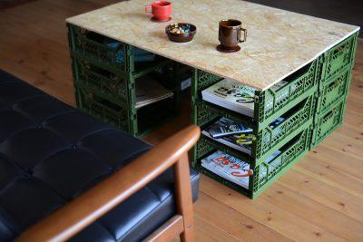 マルチ収納ボックスを使ったDIYのリビングテーブルは大容量の収納力