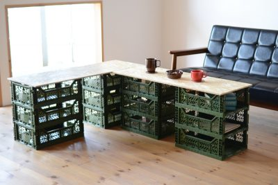マルチ収納ボックスを使ったDIYのリビングテーブルは組合せも自由自在