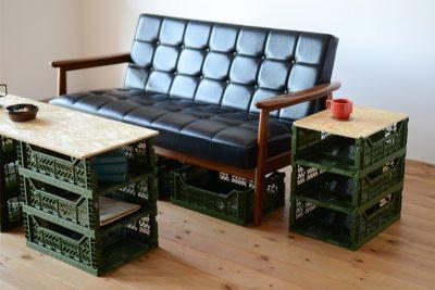 マルチ収納ボックスを使ったDIYのリビングテーブルとサイドテーブルの組合せ