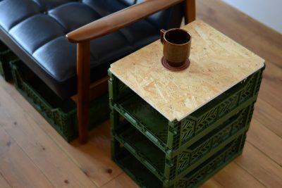 マルチ収納ボックスを使ったDIYのサイドテーブルの天板