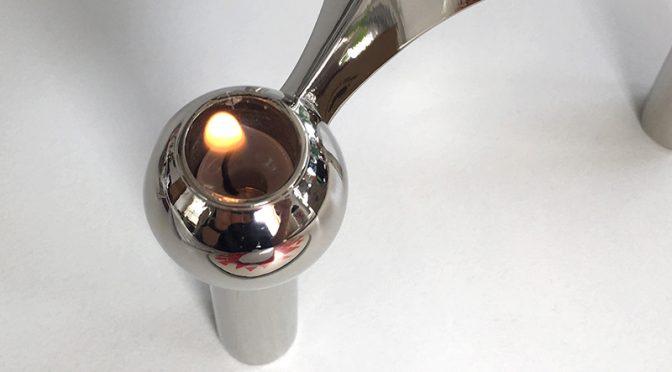 STOFFキャンドルホルダーに実際に火を灯してみました