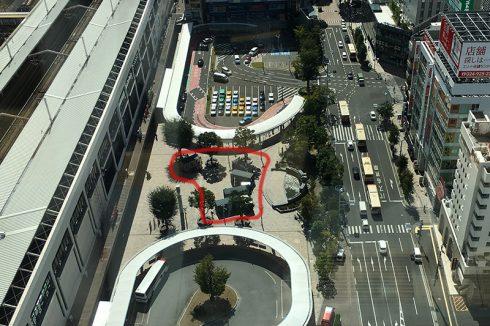 郡山駅の西口広場を上から。赤いラインがイベント開催場所。