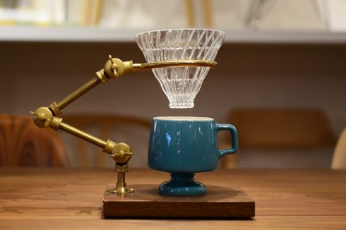 BRASS & WALNUT FLEXIBLE POUR-OVER COFFEE STAND