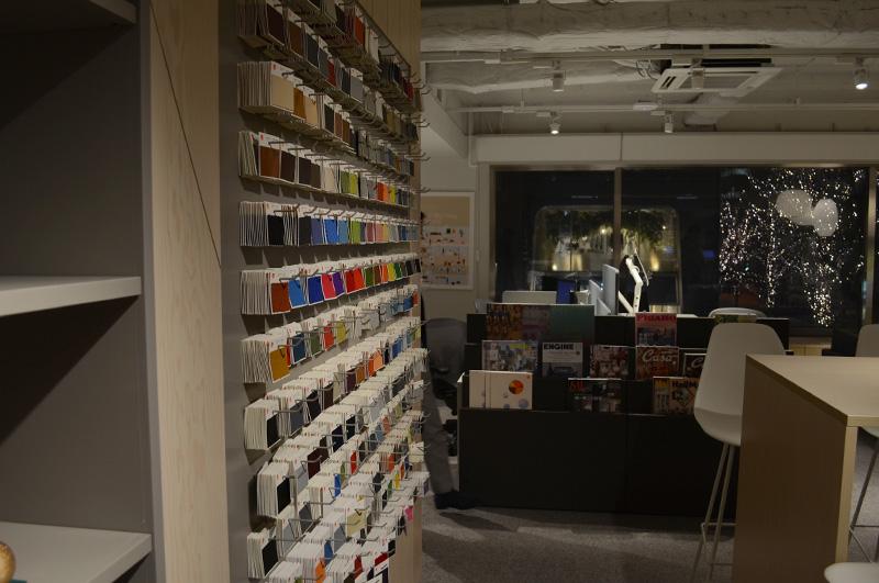ハーマンミラー製品に使われる貼地サンプルが壁一面にびっしり。