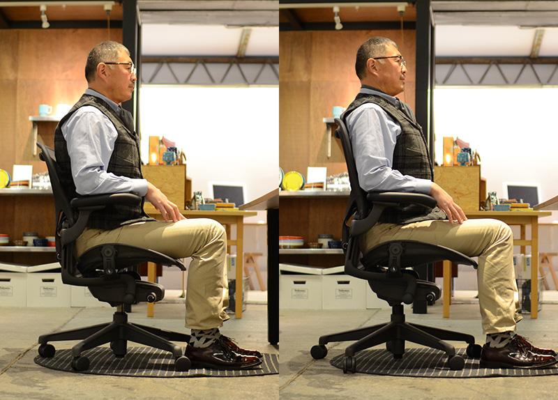 左:Bサイズ/右:Cサイズ Bサイズは座面も背もたれも少し物足りないように見えます