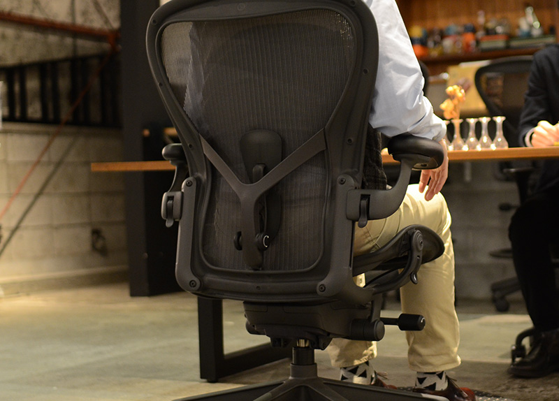 アーロンチェア リマスタードのポスチャーフィットSLは仙骨と腰椎をサポート