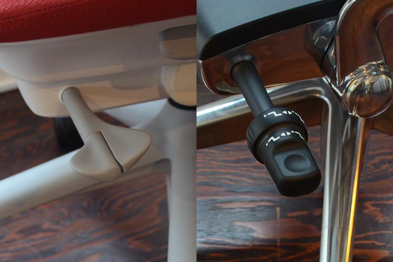 リクライニング範囲、前傾チルトの操作レバー(左:セイルチェア/右:アーロンチェア)