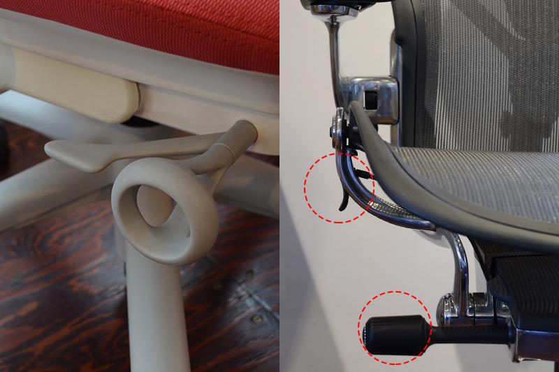 上下昇降レバー・リクライニングの硬さ調整ダイヤル(左:セイルチェア/右:アーロンチェア)