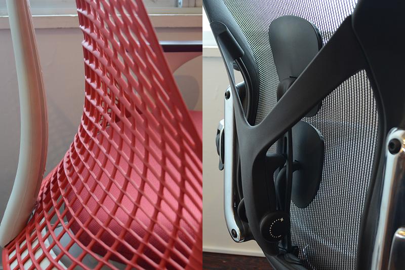 腰のサポートには大きく違いが(左:セイルチェア/右:アーロンチェア)