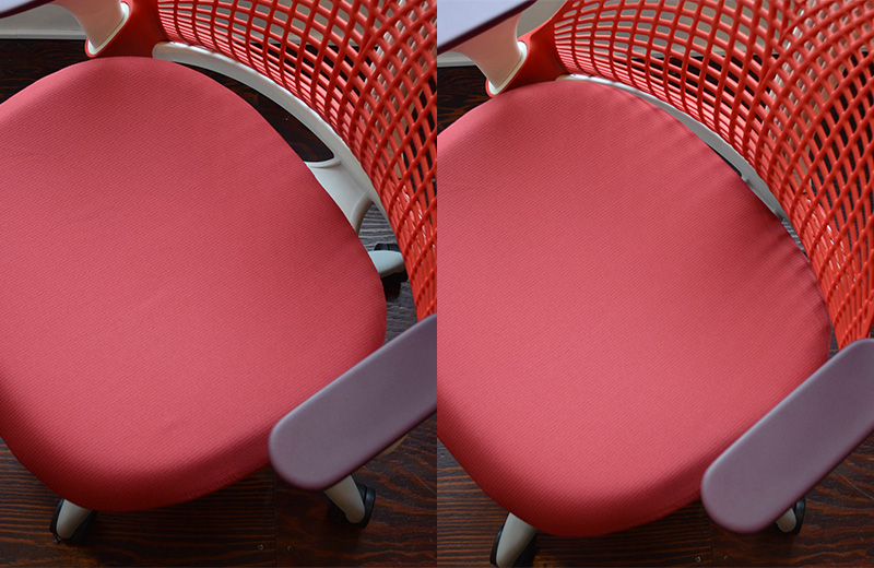 セイルチェアは多くの体型をサポートさせるために座面がスライドします