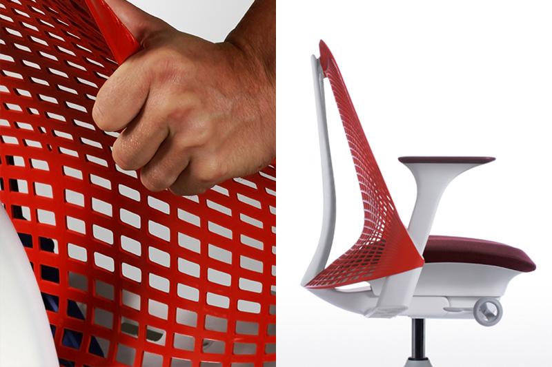 三次元曲線を描くセイルチェアの背もたれはフレームを持たないエラストマー材(硬いゴム)の単体パーツ