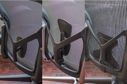 左からフィックスドポスチャーフィット/ポスチャーフィットSL/ポスチャーフィット(アーロンチェア クラシック)