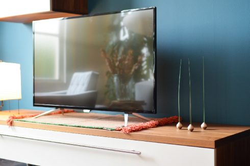風を感じるインテリアオブジェKUSA(クサ)をテレビ横や棚の上に