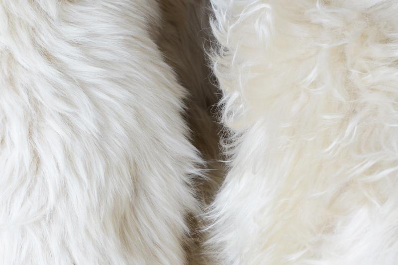シープスキンには毛足の長さや毛並み、色味に個体差がある
