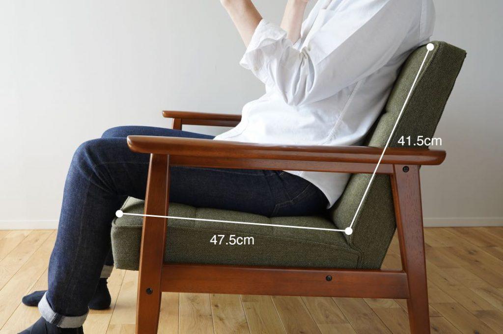 座面と背もたれ、接合部からの寸法