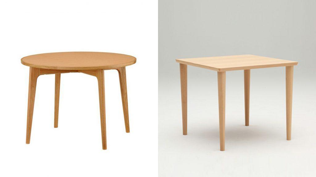 左:マルニ60+ オークフレームラウンドテーブル100/右:カリモク60+ ダイニングテーブル800 ピュアビーチ